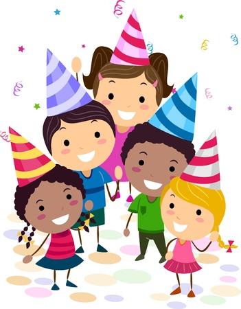 Illustration der Kinder in einer Geburtstagsfeier Nachschlagen