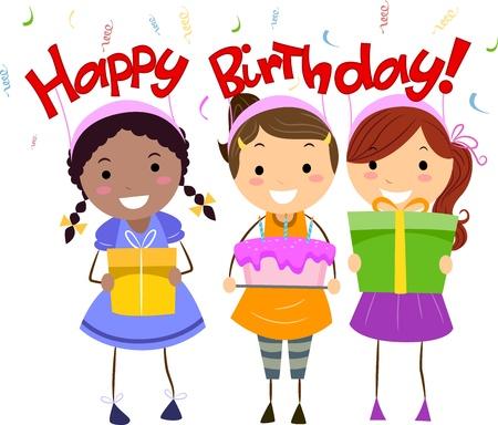 Illustration of Kids Holding Birthday Presents illustration