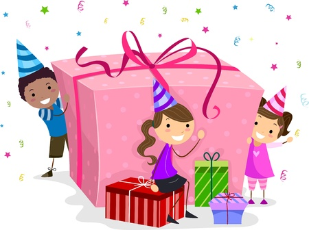 pals: Illustration of Kids Guarding a Huge Birthday Gift