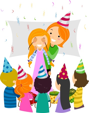 Illustration of a Mom Giving Her Daughter a Birthday Surprise Stock Illustration - 9707257