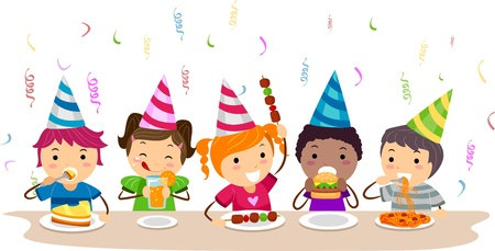 pals: Illustration of Kids Having a Food Party