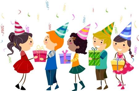 Illustration of Kids Handing Their Gifts to the Celebrant Stock Illustration - 9707249