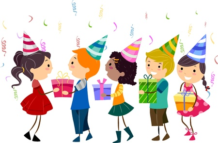 pals: Illustration of Kids Handing Their Gifts to the Celebrant Stock Photo