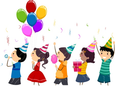 parade: Illustration of Kids in a Birthday Parade Stock Photo
