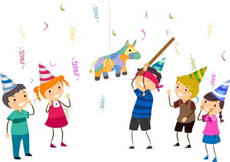 pinata: Illustration of Kids Playing Pinata Stock Photo