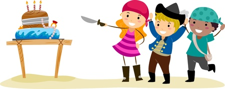 Illustration of a Birthday Party with a Pirate Theme Stock Illustration - 9707192