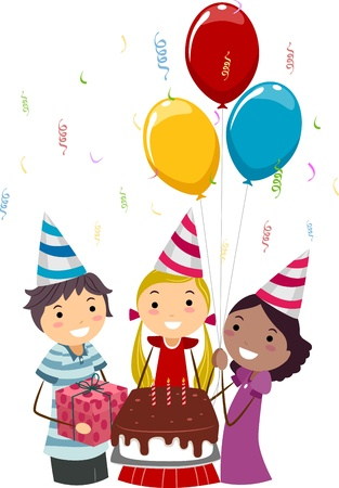 Illustration of Teens Presenting Gifts to the Birthday Celebrant illustration