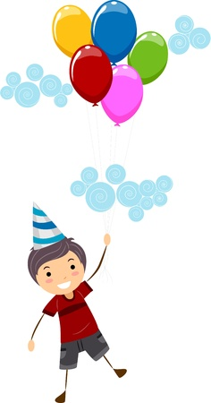 Illustration of a Kid Holding Birthday Balloons illustration