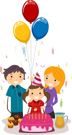 Illustration of a Girl Celebrating Her Birthday with Her Family illustration