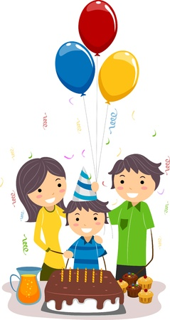 Illustration of a Boy Celebrating His Birthday with His Family illustration