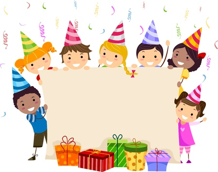 cartoon present: Illustration of Kids Holding a Banner
