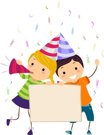 Illustration of Kids Holding a Banner illustration