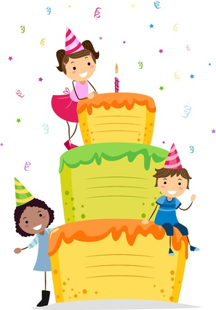 Illustration of Kids Resting on a Layered Cake illustration