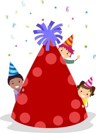 pals: Illustration of Kids Hiding Behind a Birthday Hat Stock Photo