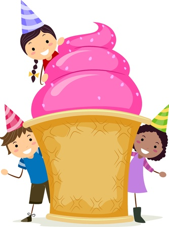 sundae: Illustration of Kids Gathered Around a Giant Sundae