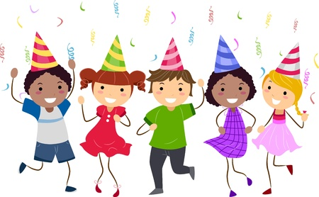 Illustration of Kids Having a Dance Party Stock Illustration - 9781909
