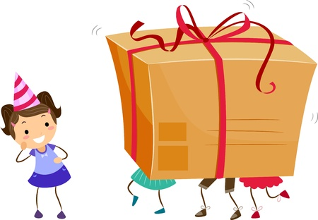 Illustration of Kids Carrying a Large Gift Box Stock Illustration - 9781875