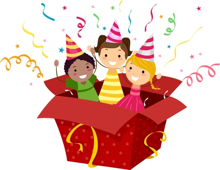 popping: Illustration of Kids Popping Out of a Gift Box