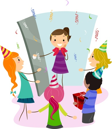 Illustration of a Girl Coming Home to a Surprise Party Stock Illustration - 9781923