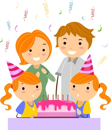 Illustration of Twins Celebrating their Birthday Stock Illustration - 9781930