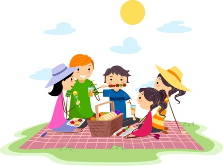 Illustration of a Family Having a Picnic Stock Illustration - 9781912