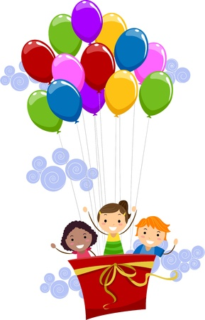 delighted: Illustration of Kids Being Lifted by Balloons