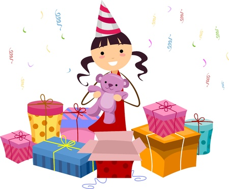 Illustration of a Girl Opening Her Birthday Gifts Stock Illustration - 9781918