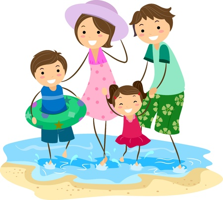 family playing: Illustration of a Family Playing on the Beach