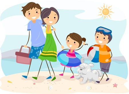 family outing: Illustration of a Family Outing at the Beach