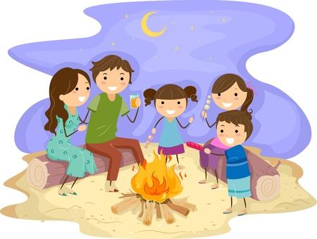Illustration of a Family Gathered Around a Bonfire illustration