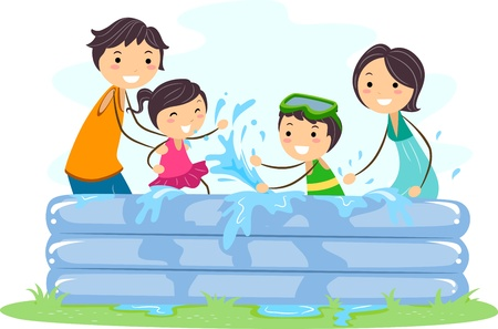 Illustration of a Family Playing in an Inflatable Pool illustration