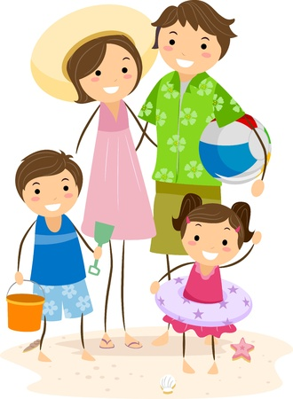 outing: Illustration of a Family Outing at the Beach