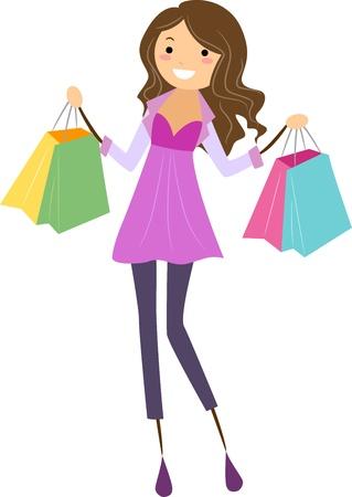 Illustration d'une jeune fille tenant Shopping Bags
