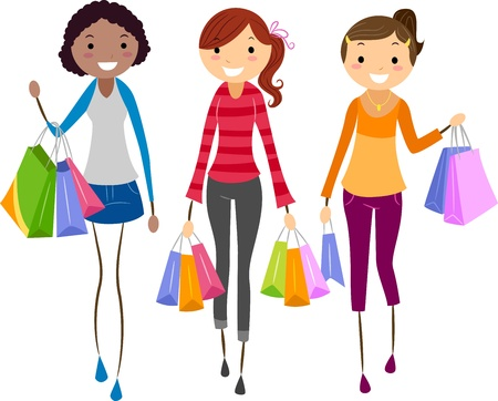 retail therapy: Illustration of Girls Shopping Together