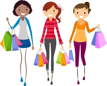 chicas de compras: Ilustraci�n de las ni�as compras juntos