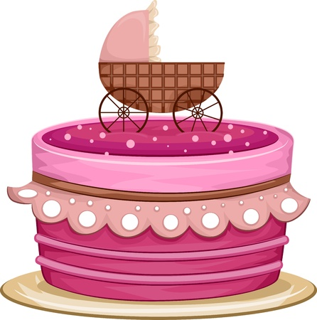 Illustration of a Cake with a Crib Design on Top illustration