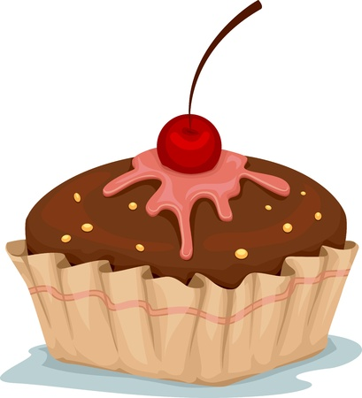 Illustration of a Cupcake with Cherry on Top illustration
