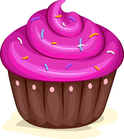 Illustration of a Cupcake with Sprinkles on Top Stock Illustration - 9781908