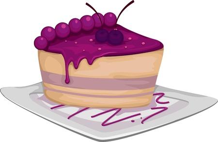 Illustration of a Slice of Blueberry Cake illustration