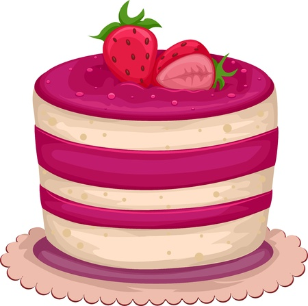 Illustration of an Enticing Strawberry Cake Stock Illustration - 9781927