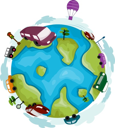 Illustration of a Globe Surrounded by Cars Stock Illustration - 9781940