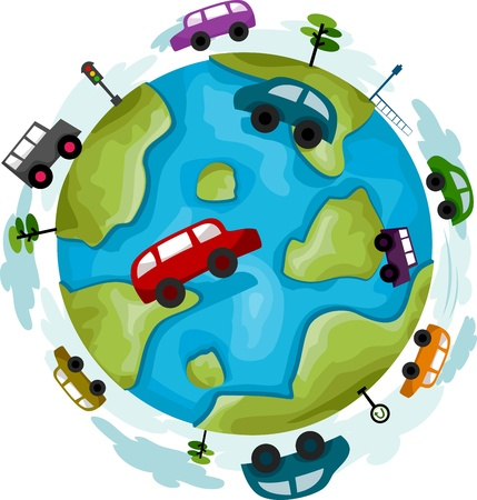 Illustration of a Globe Surrounded by Cars illustration