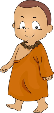 monk: Illustration of a Little Monk Walking