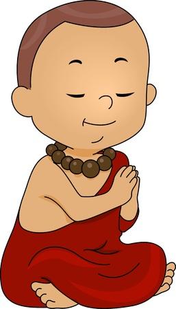 lamaism: Illustration of a Little Monk Praying