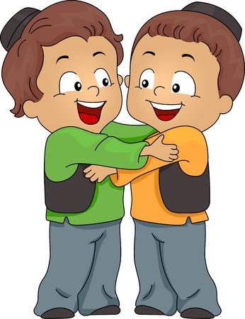 Illustration of Muslim Kids Hugging Each Other Stock Illustration - 9781939