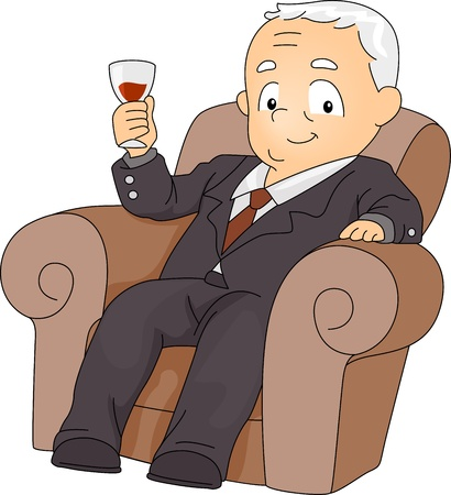 Illustration of a Businessman with His Wine Glass Raised illustration