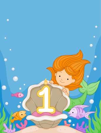 birthday cartoon: Illustration of a Mermaid Looking at a Birthday Candle Stock Photo