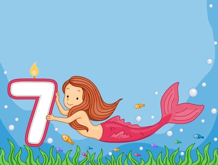 mermaid: Illustration of a Mermaid Looking at a Birthday Candle Stock Photo