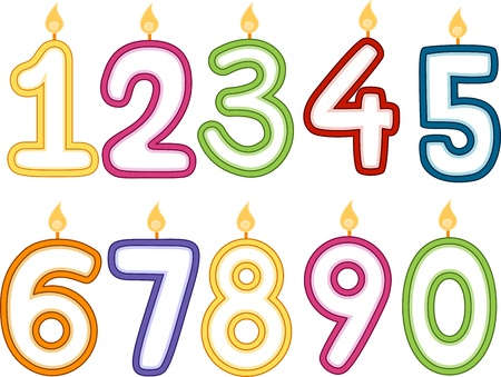 10th: Illustration of Number-Shaped Birthday Candles