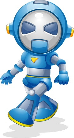 Illustration of a Walking Toy Robot illustration